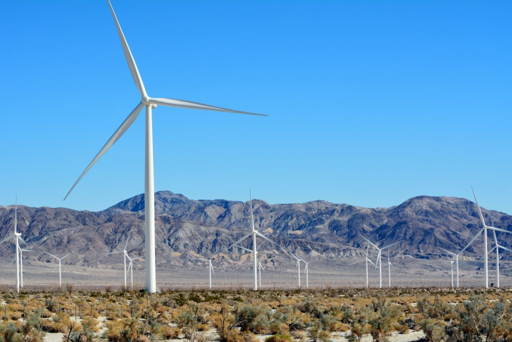 Wind turbines in the Imperial Valley desert generate clean energy
